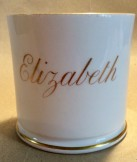 "Porcelain named mug c1860 ""Elizabeth""."