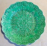 Pair early C19 Don pottery, Leeds, green majolica side plates.