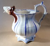 English pottery  jug with horses head spout c1840