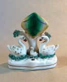 Victorian Staffordshire swan inkwell