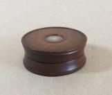 Round mahogany snuff box