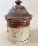 Large Doulton Lambeth stoneware tobacco jar and cover