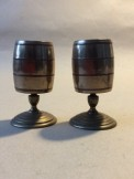 Pair of turned barrel brass and copper match or toothpick holders