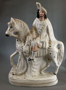 Stafordshire  flatback figure rider on horse