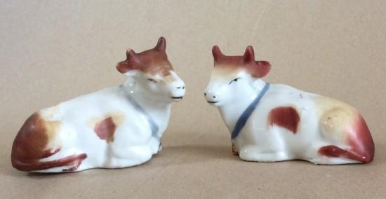 Pair Victorian staffs. cows.