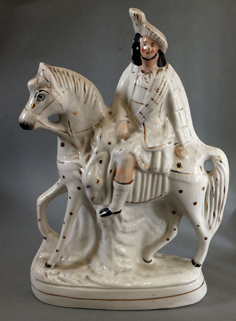 Victorian staffs flatback rider on horse