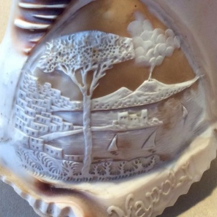 Detail: Antique carved Cameo  shell lampshade. Italian view of Naples and Mt Vesuvius