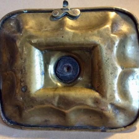 Detail: Victorian sheet brass chamberstick