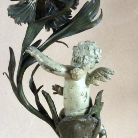 Detail: Spelter and copper Art Nouveau cherub electric table lamp on good marble socle base.