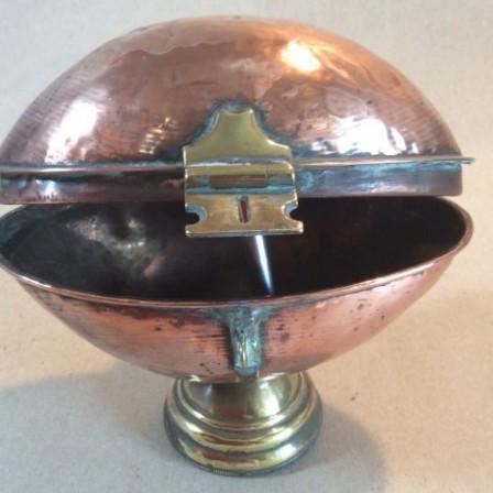 Detail: Antique C19 copper Ciborium or wafer holder.