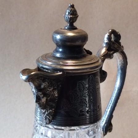 Detail: Victorian/Edwardian cut glass and EPBM Claret jug