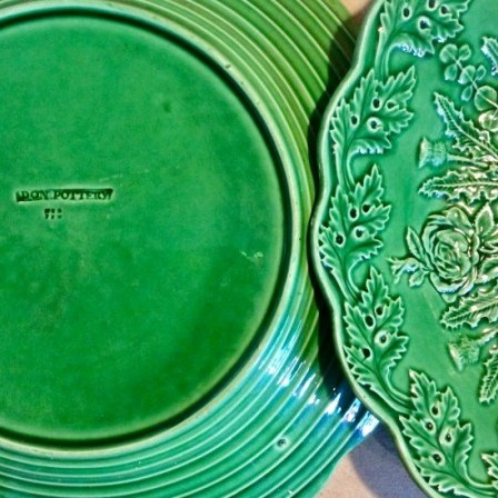 Detail: Pair of Don pottery Leeds green majolica side plates C1820.