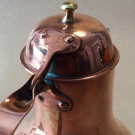 Detail: Antique early 19thC French seamed baluster copper Coffee pot