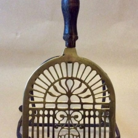 Detail: Antique Georgian pierced brass and wrought iron  trivet