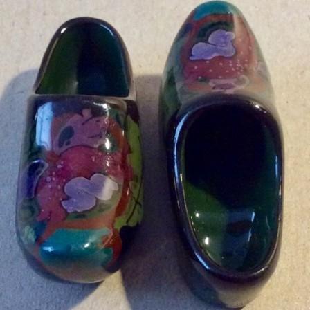 Detail: Antique pair of Gouda miniature Dutch clogs.
