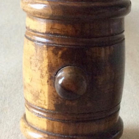 Detail: Antique Lignum Vitae turned auctioneers gavel