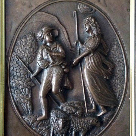 Detail: Antique repousse copper plaque engraved and hammered scene of shepherds and flock.C1860.