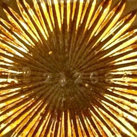 Detail: Antique pressed glass G.Davidson caramel flower trough.
