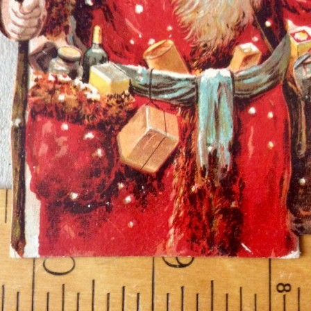 Detail: Antique Xmas 1896 card insert advertisement Dudeney & Johnston, Bedford.