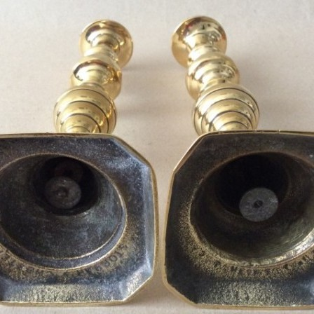 Detail: Antique Victorian  brass beehive candlesticks marked Storrars Chester.
