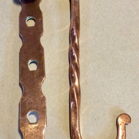 Detail: Antique 19th century adjustable copper pan hook