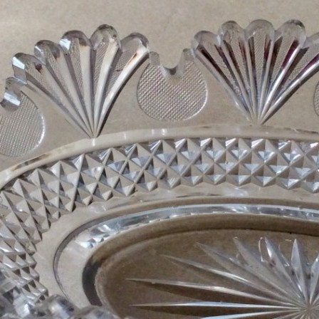 Detail: Antique Georgian Regency style cut glass serving or centrepiece oval dish.