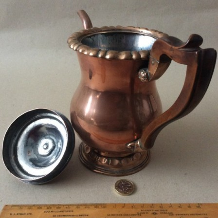 Detail: Antique early 19th century copper coffee pot
