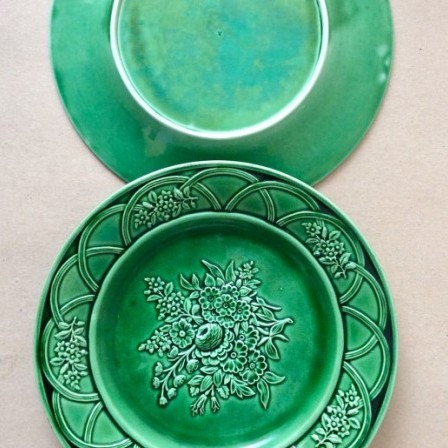 Detail: Antique green majolica relief moulded plates, c1860