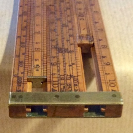 Detail: Antique Dring and Fage boxwood Customs and Excise double slide rule.