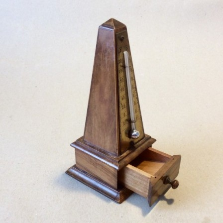 Detail: Antique Treen Obelisk desk thermometer with stamp drawer c1910