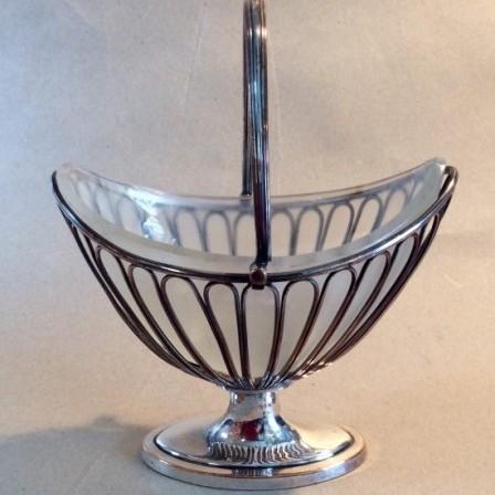 Detail: Early 19C Sheffield plate sugar basket or Bon Bon dish