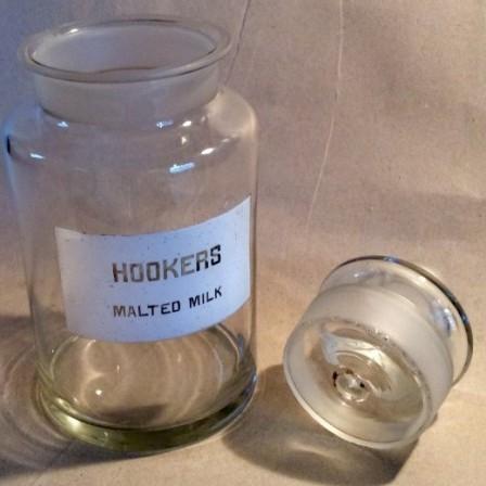Detail: Hookers malted milk glass display or storage jar