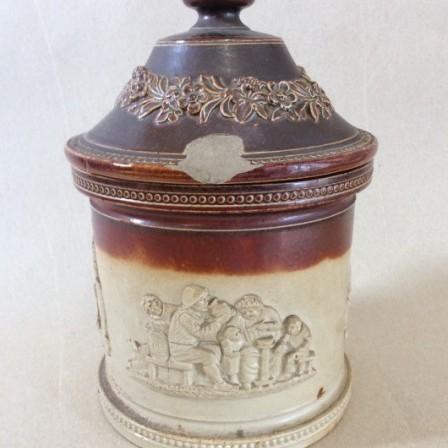 Detail: Doulton Lambeth C19 stoneware tobacco jar