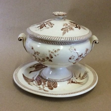 Detail: Victorian Wedgwood creamware pottery part dinner service C1860
