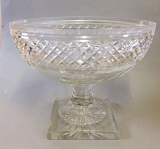 Antique Large Cut Glass Canoe Shaped Bowl On Pedesral Stem And Square Base